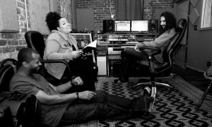 "Me and my lil sis Chantae Cann throwing around lyrics for one of the songs on my new record ""Its Your Time"" a duet with Musiq Soulchild #TheHeartbeatalbum  Raheem Amlani engineering. Photo by Benjamin Brown"
